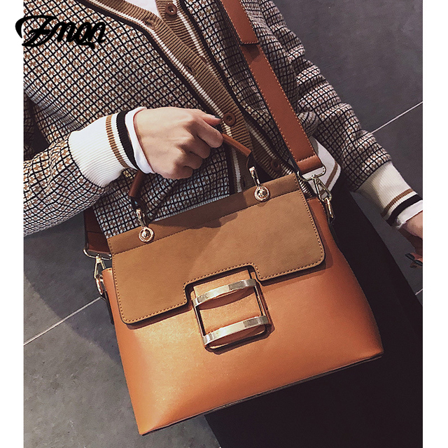 ZMQN Women Bag Vintage Shoulder Bags 2019 Buckle PU Leather Handbags Crossbody Bags For Women Famous Brand Spring Sac Femme C219 5