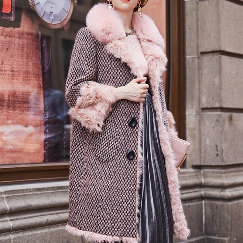 Femmes Manteau De Show Qualité Faction Doublure D'hiver As Fox Surmonter Longue Avec Fourrure Col Section Laine Supérieure FqIgxantt