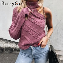 BerryGo One shoulder white turtleneck knit sweater female Fashion long sleeve casual pullover Women 2018 autumn winter jumper(China)