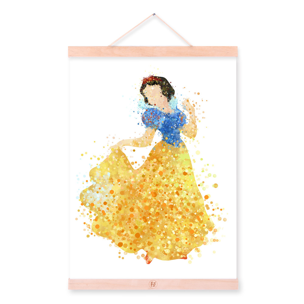 Watercolor Princess Fairy Snow White Elsa Wood Framed Poster Nordic ...