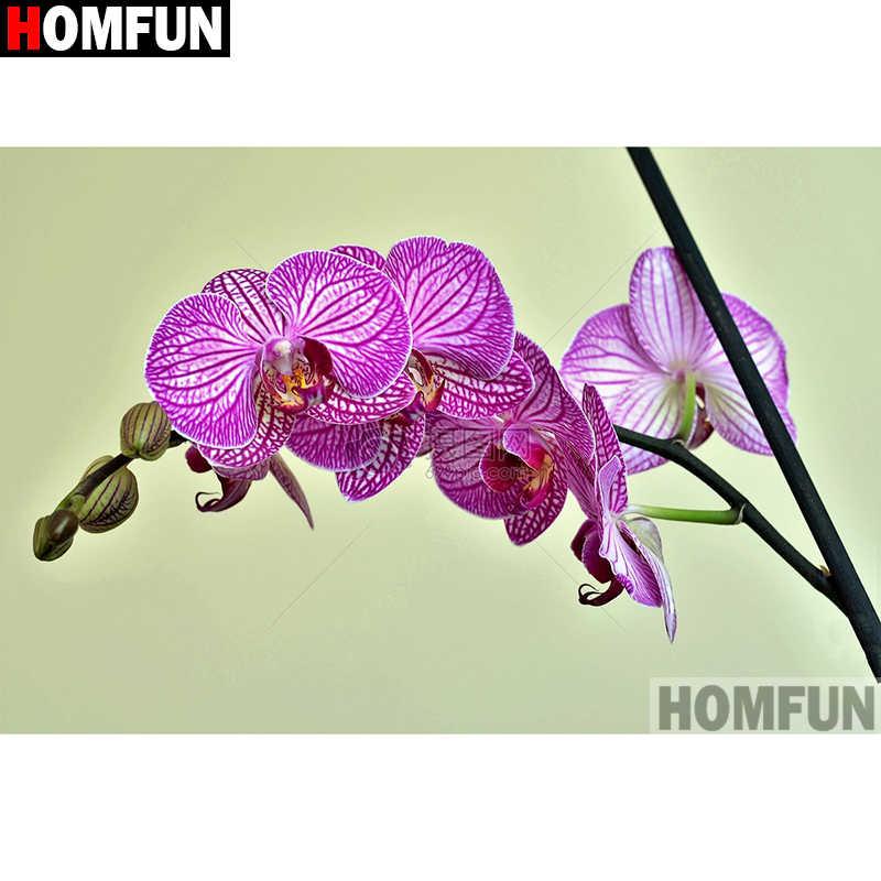 """HOMFUN полностью квадратная/круглая дрель 5D DIY Алмазная картина &quotЦветок"""" вышивка"""