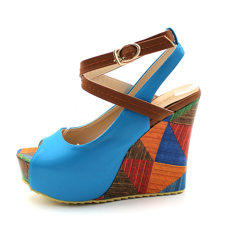 ENMAYER 5 colors Fashion Women's Wedges Shoes High Heels Platform Open Toe Ankle Straps Sandals Summer Pumps Free Shipping 34-39