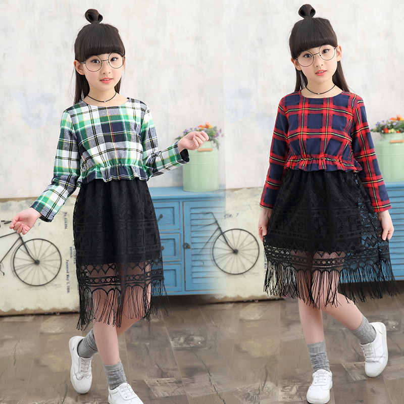 2017 Children Plaid Winter Girl Dress / Autumn Baby Girl Princess Dresses Big Cotton Kids Clothing Tassels Mesh Patchwork Dress