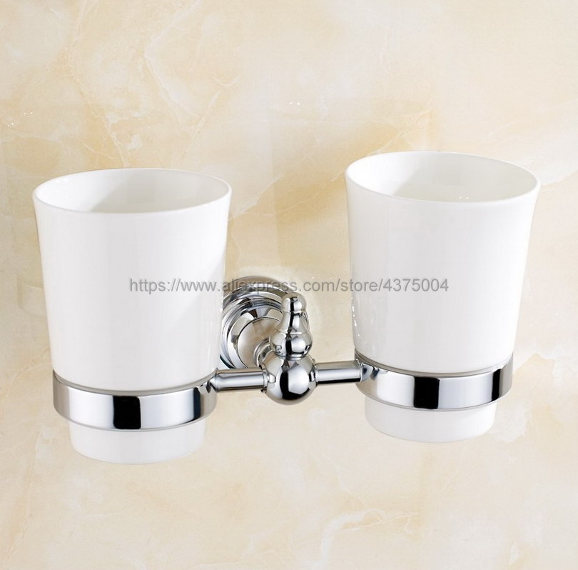 Luxury High Quality Bathroom Polished Chrome Toothbrush Holder + Two Ceramic Cups Nba908 image