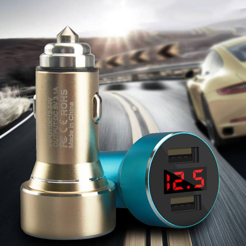 Multi-Function Car Charger Safety Hammer Universal Digital Display Double USB Car Charger Aluminum Alloy Safety Hammer