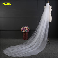 NZUK Elegant Wedding Accessories 3 Meters 2 Layer Wedding Veil White Ivory Simple Bridal Veil With