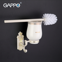 GAPPO 1 Set Wall Mount Toilet Zinc Alloy Brush Holder Mounting Seat Holder Cetamic Cups Bathroom