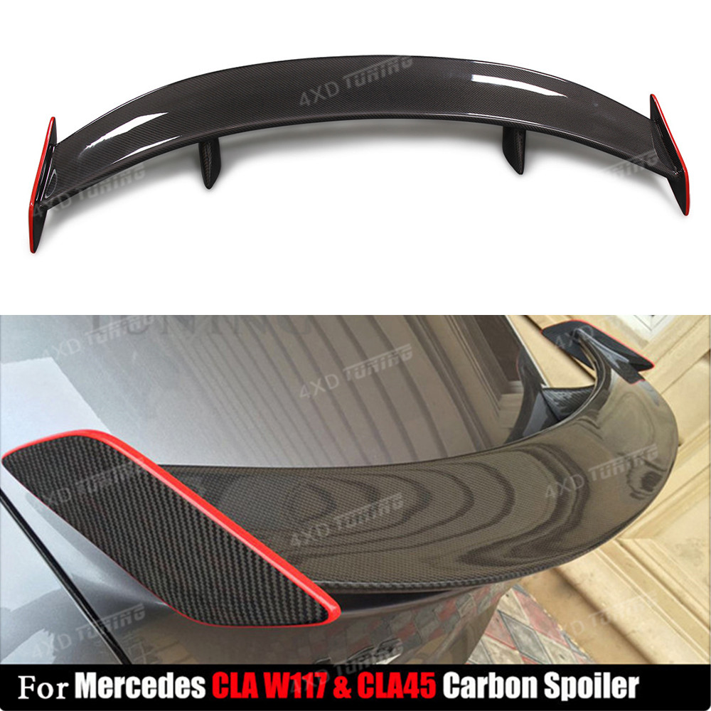 For Mercedes CLA W117 Carbon Spoiler With Red Line GT Style CLA Class CLA45 AMG Carbon Fiber Rear Spoiler Rear Trunk Wing 2013+ mercedes cla w117 amg style replacement cf rear trunk wing spoiler for benz 2013 cla 180 cla200 cla 250