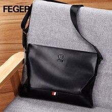Men's Genuine Leather Business Men Shoulder Bag Casual handbag Cowhide Crossbody Messenger Bag Male fashion Bags  Black FEGER цена в Москве и Питере