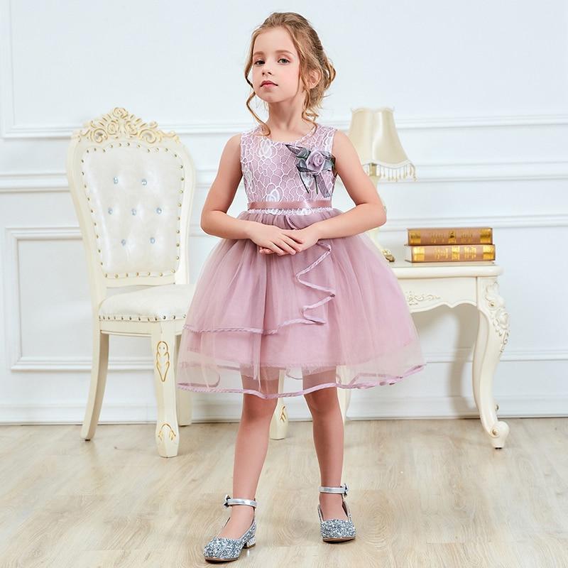 Summer Flower Fluffy Cake Smash Baby Girl Dress Children -6239