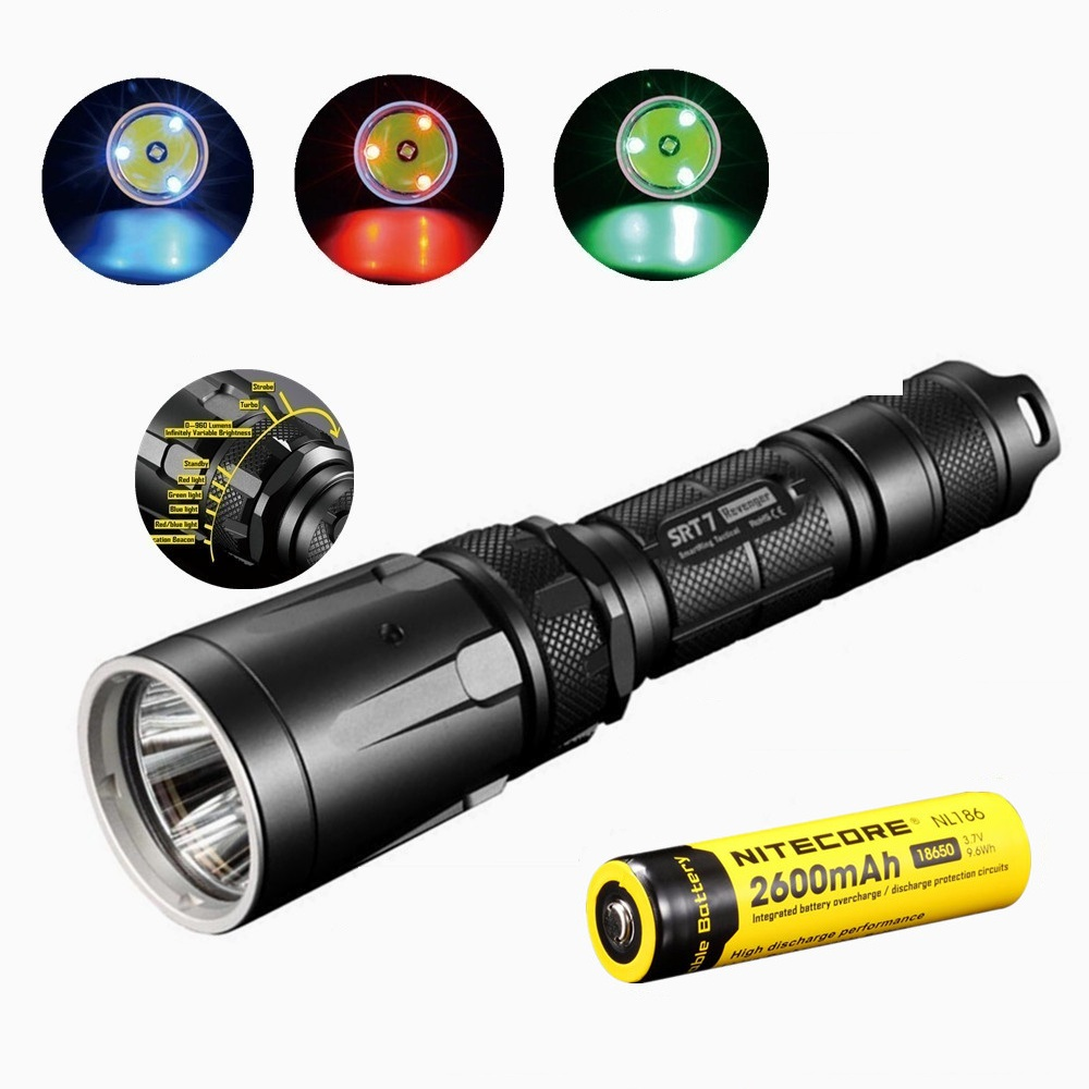 Nitecore SRT7GT Flashlight CREE XM-L2 960LM with Nitecore 18650 2600mah battery for Smart Selector Ring Search Torch