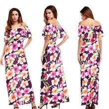 New hot Boho Robe D'été Femmes 2017 Robe D'été d'impression de fleur robe Longueur de Plancher de Longue Maxi Plage sexy Robe Chemise Robe Femme