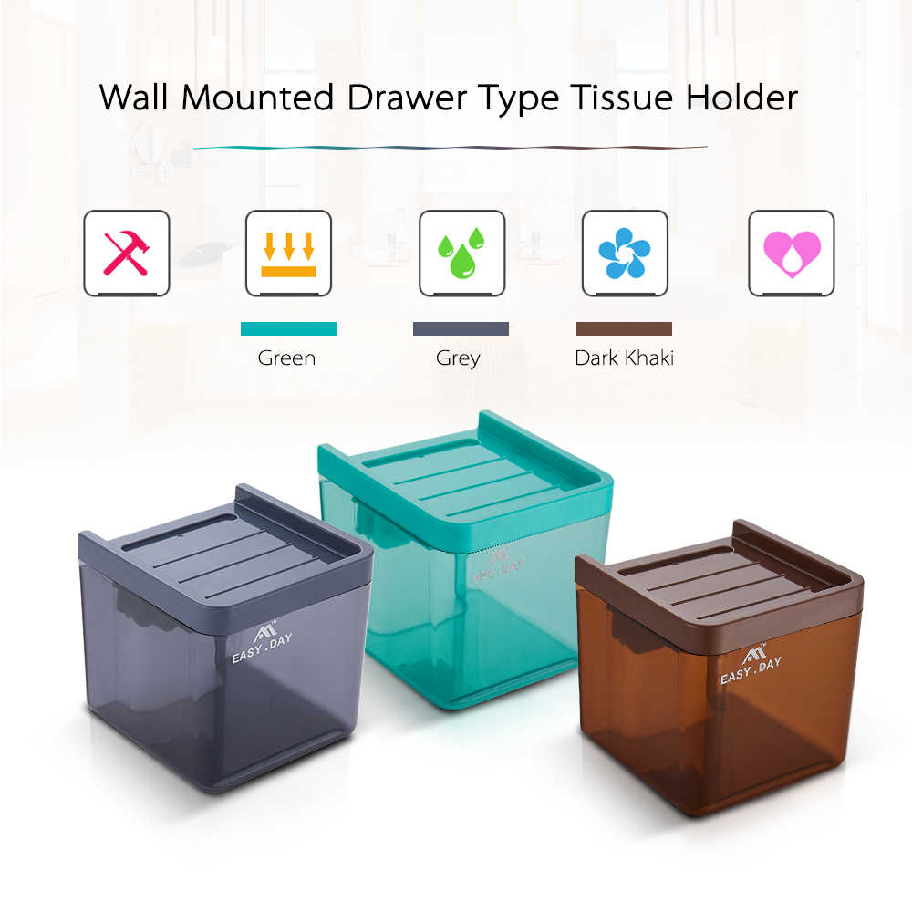 Paper Towel Holder Plastic Wall Mounted Drawer Type Toilet Tissue ...
