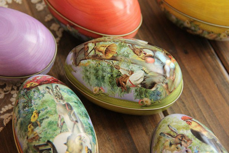 1piece Creative Easter Day Pattern Randomly Sent Egg Shape Jewelry Storage  Box Bins tinplate Iron Material 11X6 5X7cm. Material Storage Bins Promotion Shop for Promotional Material