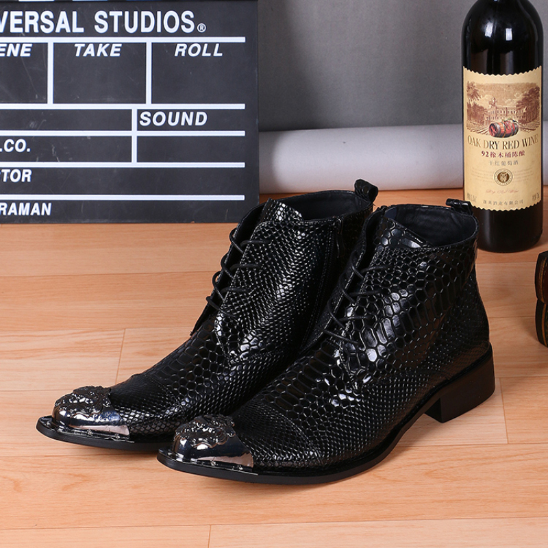 Christia Bella Fashion Genuine Leather Men Boots Pointed Toe Lace Up Ankle Boots for Men Wedding Dress Shoes Winter Cowboy Boots