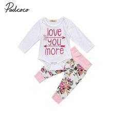 2 pcs Babies Girl Clothing Set Newborn Infant Baby Girls Letters Bodysuit Top Floral Pants Clothes Outfits Sets