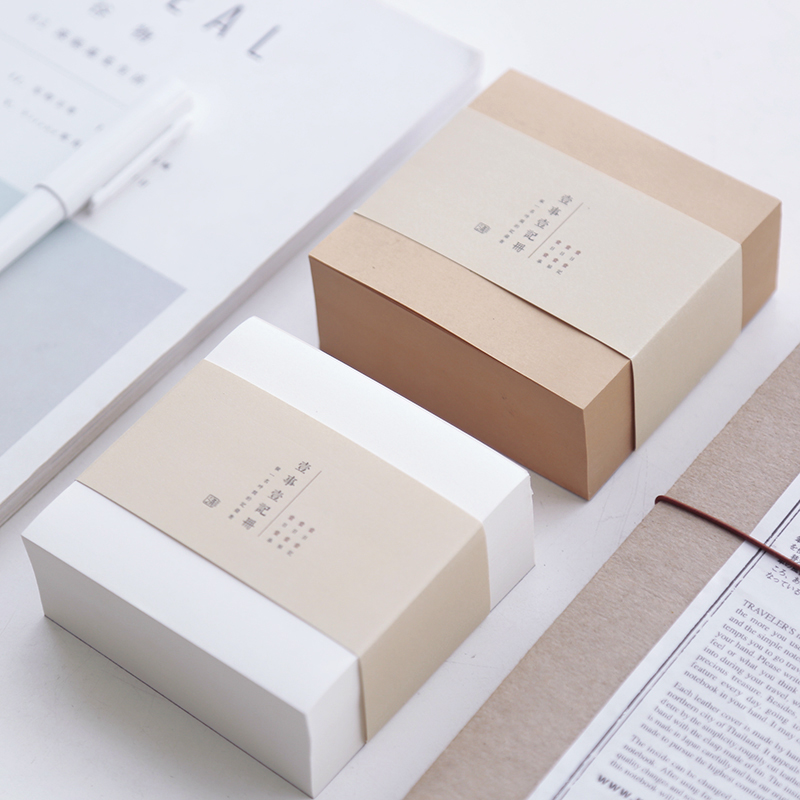 Muji Style Kraft Memo Pad Blank Page Mini Notepad Portable Sticky Notes Post It Paper Bookmark School Office Supplies 150 page apple shaped memo pad