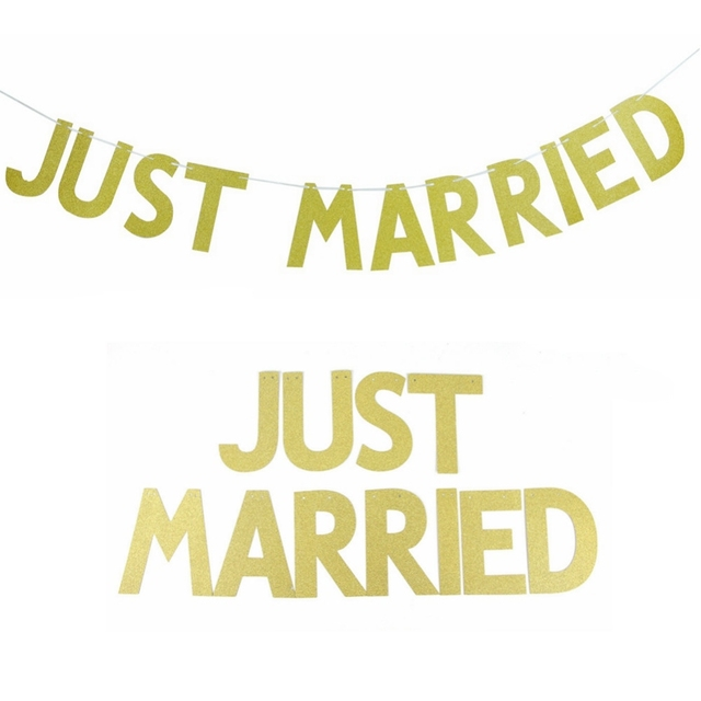 3M(10ft) JUST MARRIED Gold Glitter Banner Bunting Letter Banner ...