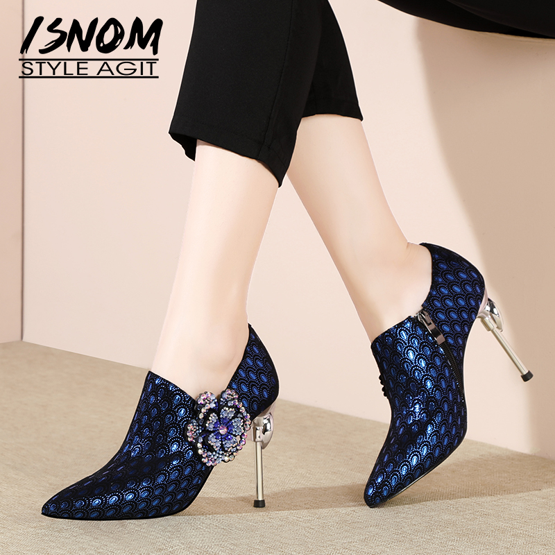 ISNOM Unusual Heel High Pumps Women Pointed Toe Footwear Appliques Fashion Party Shoes Genuine Leather Female Shoes Woman SpringISNOM Unusual Heel High Pumps Women Pointed Toe Footwear Appliques Fashion Party Shoes Genuine Leather Female Shoes Woman Spring