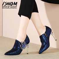 ISNOM Unusual Heel High Pumps Women Pointed Toe Footwear Appliques Fashion Party Shoes Genuine Leather Female Shoes Woman Spring