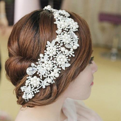 Nachahmung Perle Strass Kettenglied Haarschmuck Frauen Haarband Braut Tiara Festzug Abschlussball Krone Hochzeit Haarschmuck