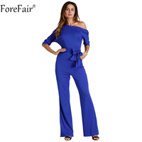 ForeFair S 2XL Sexy Off Shoulder Side Button One Piece Jumpsuit Women Empire Belted Fashion Solid