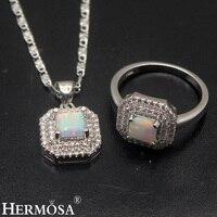 White Fire Australian Opal 925 Sterling Silver Pendant Necklace Ring Sets 7.5# Pretty Women Wedding Jewelry Lovely Gift