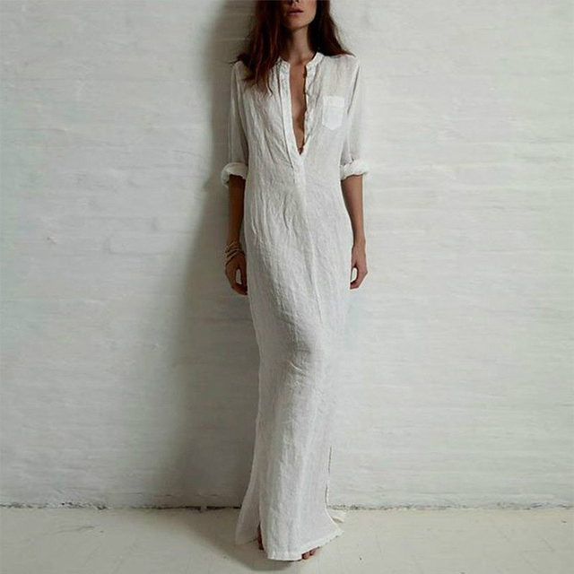 5XL Plus Size Vestidos 2019 Spring Fashion Women Sexy Casual Shirt Dress Long Sleeve Deep V