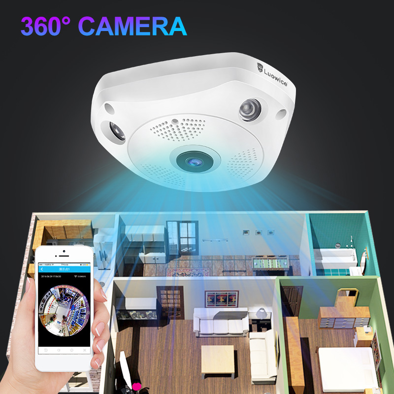 цена на 360 Degree Wireless Panoramic Camera MINI full HD 960P 1080p Network Wi-fi Fisheye Security IP Camera WIFI Video Built-in MIC