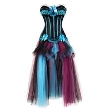 Womens Gothic Corset Jurk Victoriaanse Retro Jassen Korsetten en Bustiers Lange Rok Set Dansen Kostuums Plus Size Vintage Stijl