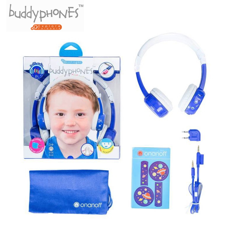 ONANOFF Kids Volume Limited Headphones BuddyPhones InFlight Professional Children Over Ear Headsets Health Listening Earphones