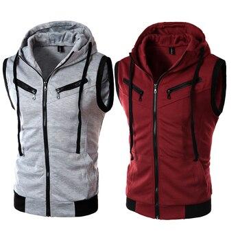 New Fashion Design Suit Business Casual hooded Vest / Grey Black High-end Cotton Men's Men's High-quality Vests Dropshipping