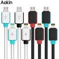 Aokin colorido plug rápido carregamento de sincronização de dados cabo micro usb para ios telefone 7 6 6 s plus 5S para samsung htc telefone de linha de dados cabo