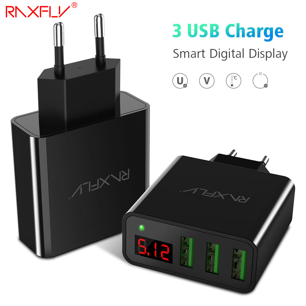 RAXFLY 3 Port USB Phone Charger For iPhone 7 6 Plus Fast Universal 5V 3A LED Display Travel USB Charger For Huawei P9 P10 Lite