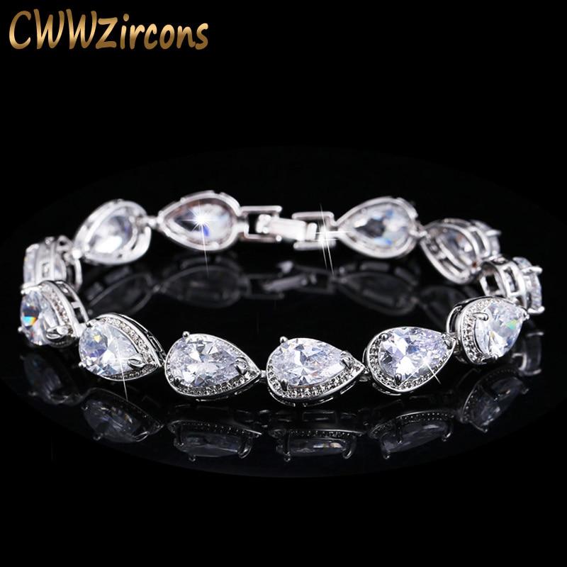 CWWZircons 2018 Fashion Womens Accessories Luxury Cubic Zirconia Water Drop CZ Stone Bracelet Bridal Wedding Jewelry Gift CB135