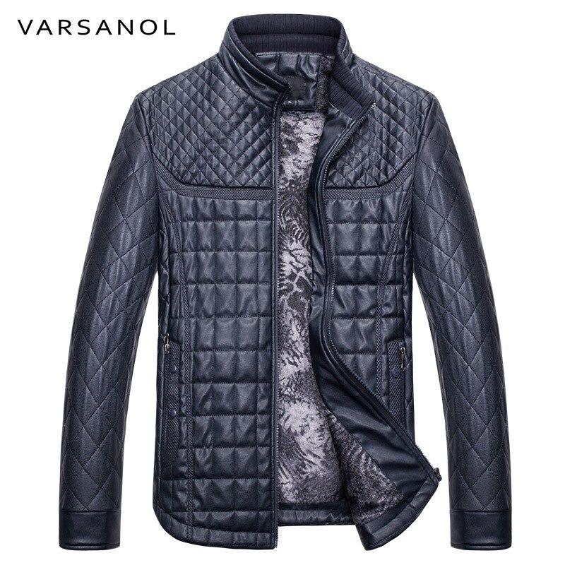 Varsanol tout nouveau hiver chaud veste hommes Bomber décontracté en cuir veste col montant Slim fermeture à glissière avec poche à manches longues Outwear-in Vestes from Vêtements homme    1