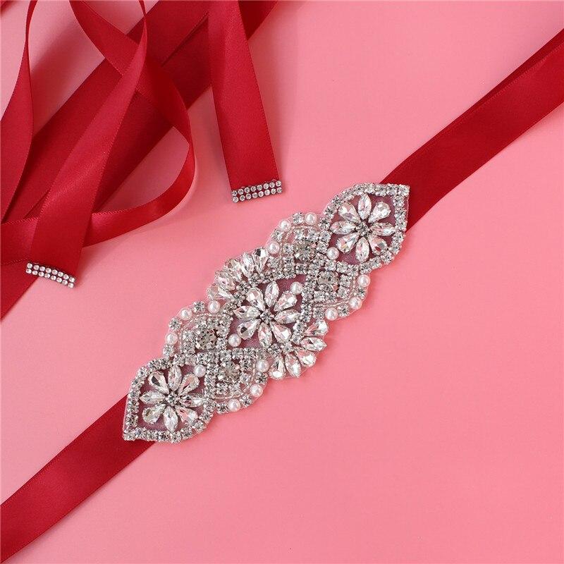 Handmade Bridal Wedding Dress Crystal Rhinestone Pearl Belt Girdle