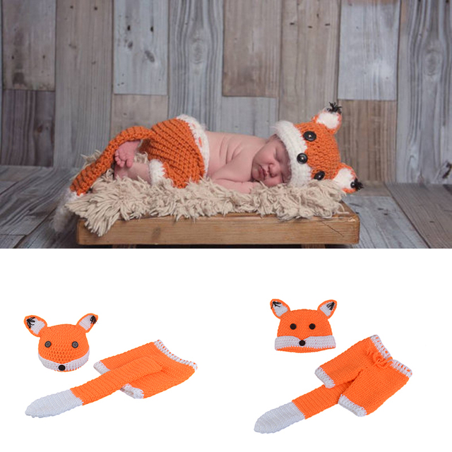 Cute Fox Design Infant Baby Crochet Outfit Photo Props Knitted - What is a commercial invoice baby stores online