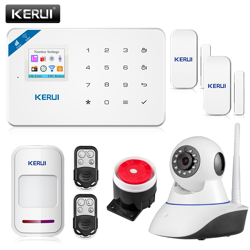 KERUI W18 Android IOS App Wireless GSM Home Alarm System SIM Smart Home Burglar Security wifi IP HD camera Alarm System yobangsecurity android ios app wifi gsm home burglar alarm system with wifi ip camera relay pir detector magnetic door contact