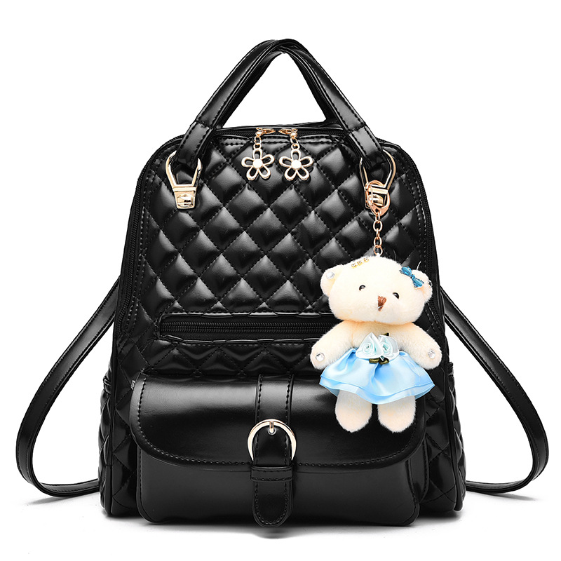 New Fashion Women Backpack Pu Leather Black Shoulder Bag Small School Book Bags for Teenagers Girls