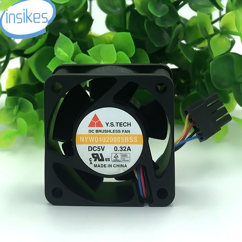 NYW04020005BSS PWM Double Ball Bearing Cooling Fan DC 5V 0.32A 4020 4CM 40*40*20mm 4 Wires P