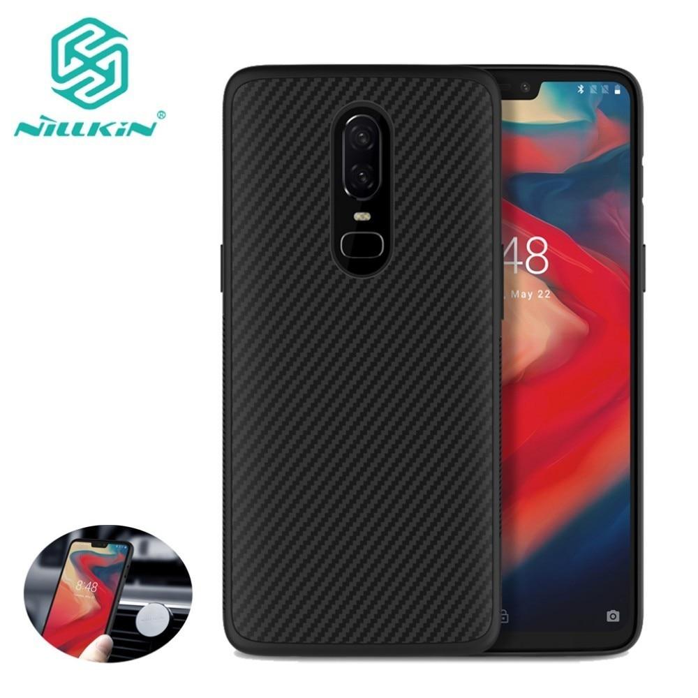Voor Oneplus 6 Nillkin Synthetische Vezels Mobiele Telefoon Case Voor Oneplus 6 Harde Carbon Fiber Pc Plastic Back Cover Tpu soft Case