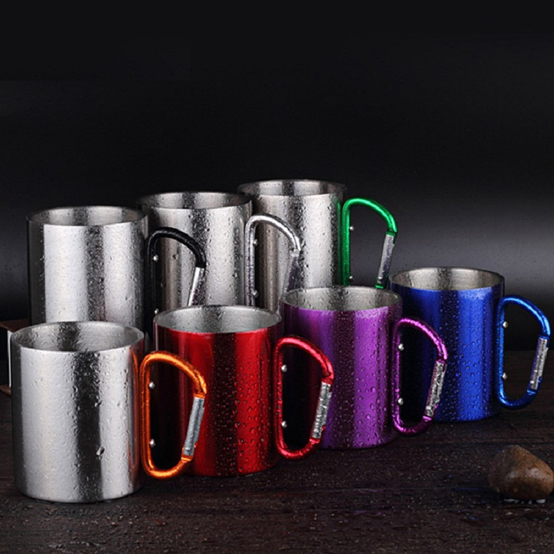 300ml Stainless Steel Portable Mug Cup Double Wall Travel Tumbler Coffee Mug Tea Cup Carabiner Hook Handle Drink Water Bottle