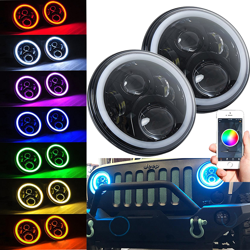 Car Lights Learned 7 Inch Led Headlights Rgb Full Halo Lights W/drl 1997-2018 For Jeep Wrangler Jk Tj Hummer H1 H2 Headlamp Drl Driving Light To Be Highly Praised And Appreciated By The Consuming Public