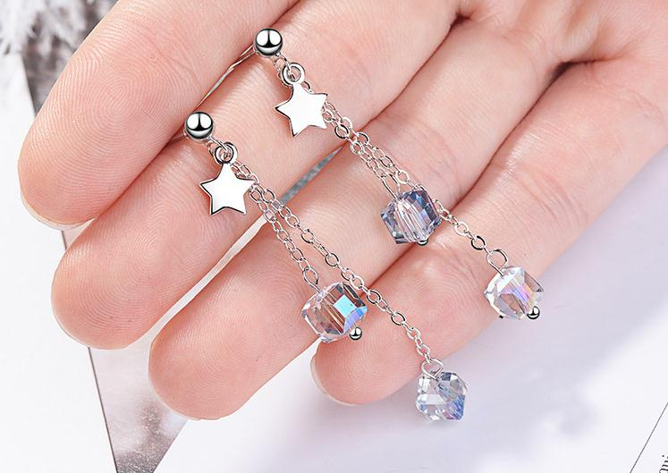New Trendy Square Crystal 925 Sterling Silver Lady Long Tassel Stud Earrings Original Jewelry For Women No Fade Cheap Gift in Stud Earrings from Jewelry Accessories