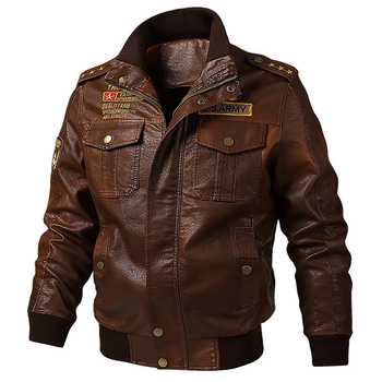 Air Force Pilot Mens Leather Jacket 6XL Plus Size Embroidery Motorcycle Leather Coats Men Bomber Jacket Overcoats Spring A618