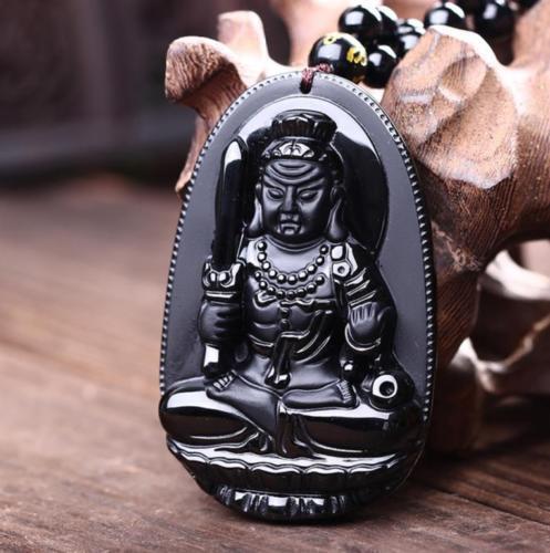 Natural obsidian pendant Acala Buddha patron saintNatural obsidian pendant Acala Buddha patron saint