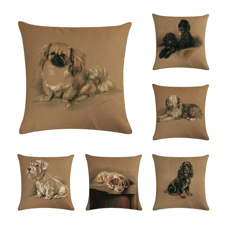 Retro Schnauzer Dogs Cushion Covers Cute Lovely Pet Dog Cushion Cover Home Decorative Sofa Chair Short Plush Pillow Case Zy274 Cushion Cover Aliexpress