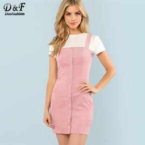 17fe1697e868 Dotfashion Button Strap 2018 Summer Women Pink Short Dress