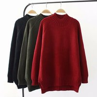 Oversized Plus Size Winter Women Pullovers 2018 Turtleneck Knitted Casual Ladies Oversize Sweater Wool Female
